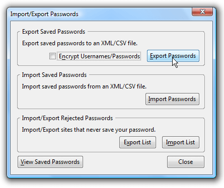 Export Saved Passwords In Firefox