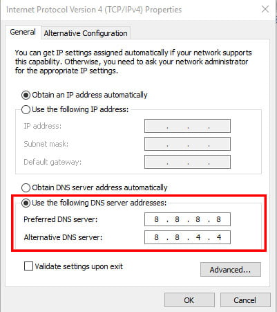 Altering The DNS IP Address